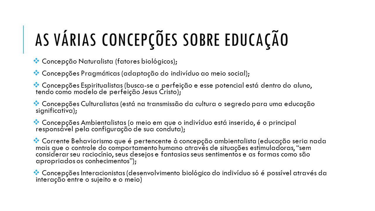 AS VÁRIAS CONCEPÇÕES SOBRE EDUCAÇÃO