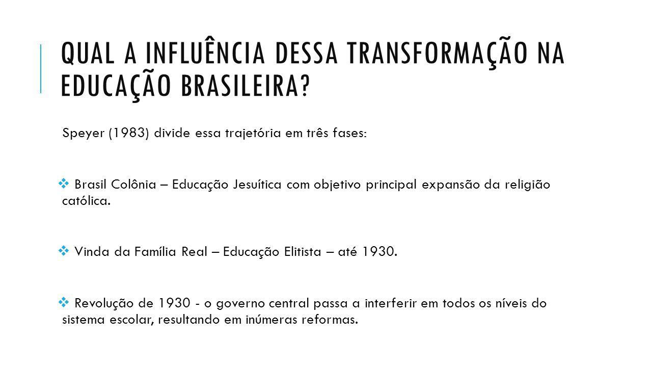 Qual a influência dessa transformação na educação brasileira
