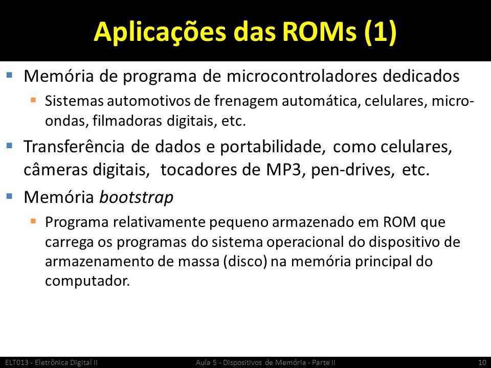 Aplicações das ROMs (1) Memória de programa de microcontroladores dedicados.