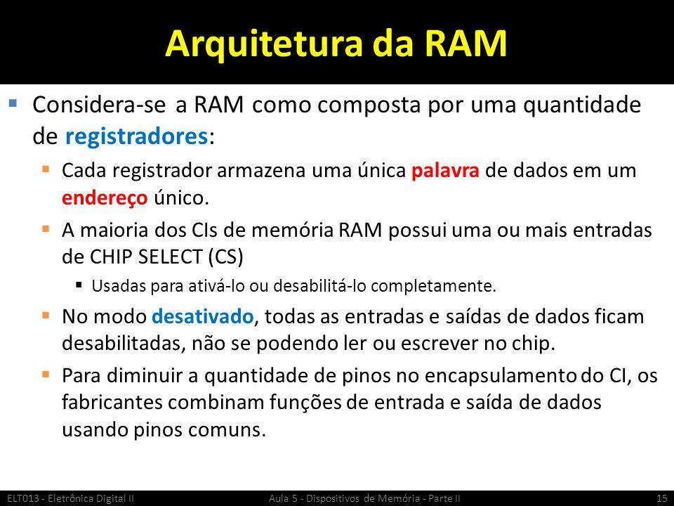 Arquitetura da RAM Considera-se a RAM como composta por uma quantidade de registradores: