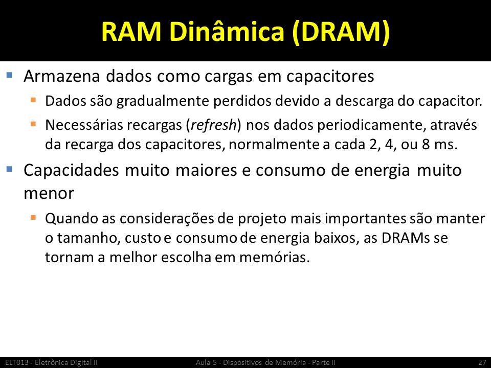 RAM Dinâmica (DRAM) Armazena dados como cargas em capacitores