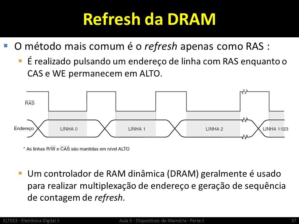 Refresh da DRAM O método mais comum é o refresh apenas como RAS :