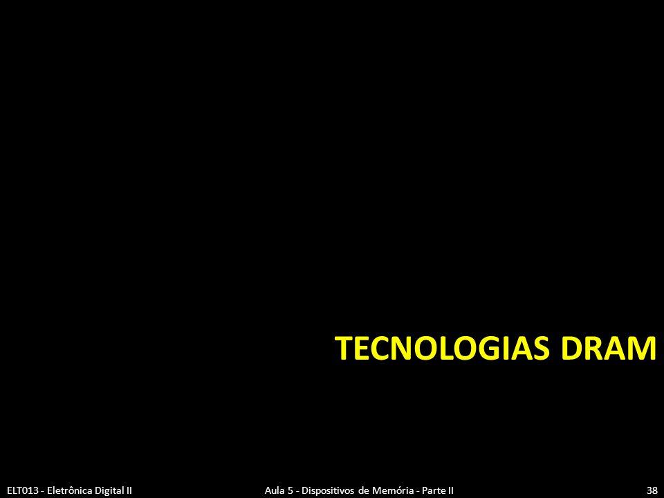 Tecnologias DRAM ELT013 - Eletrônica Digital II Aula 5 - Dispositivos de Memória - Parte II.