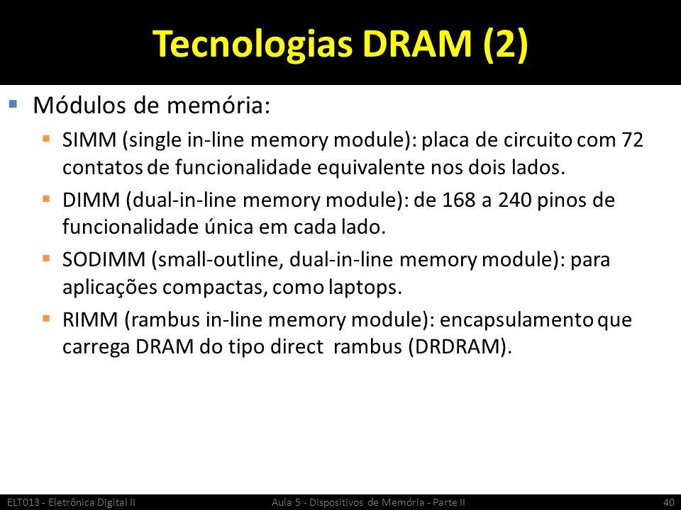 Tecnologias DRAM (2) Módulos de memória: