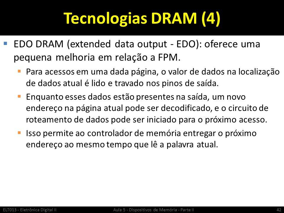 Tecnologias DRAM (4) EDO DRAM (extended data output - EDO): oferece uma pequena melhoria em relação a FPM.