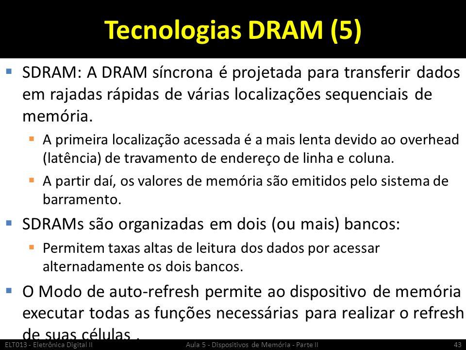Tecnologias DRAM (5) SDRAM: A DRAM síncrona é projetada para transferir dados em rajadas rápidas de várias localizações sequenciais de memória.