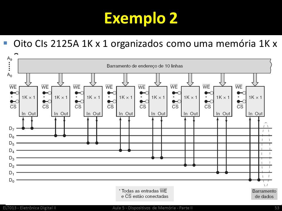 Exemplo 2 Oito CIs 2125A 1K x 1 organizados como uma memória 1K x 8: