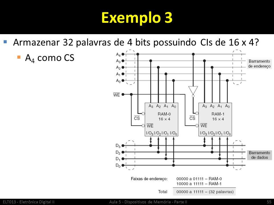 Exemplo 3 Armazenar 32 palavras de 4 bits possuindo CIs de 16 x 4