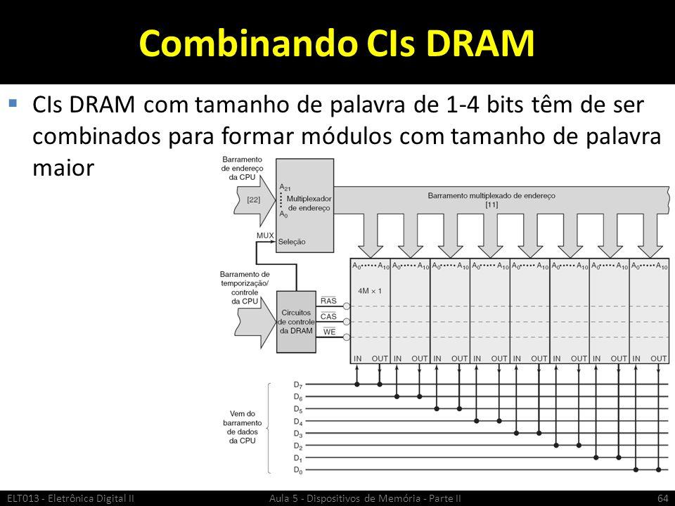 Combinando CIs DRAM CIs DRAM com tamanho de palavra de 1-4 bits têm de ser combinados para formar módulos com tamanho de palavra maior.