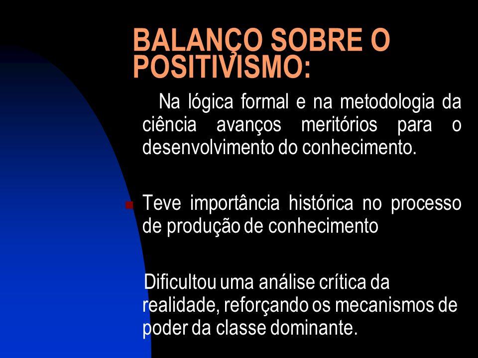 BALANÇO SOBRE O POSITIVISMO: