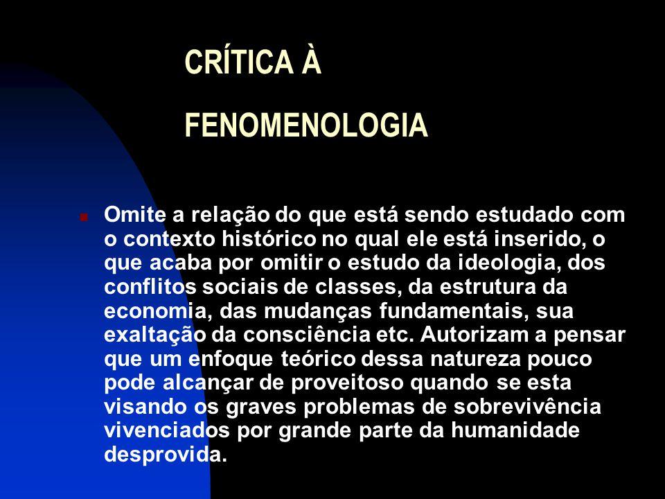 CRÍTICA À FENOMENOLOGIA