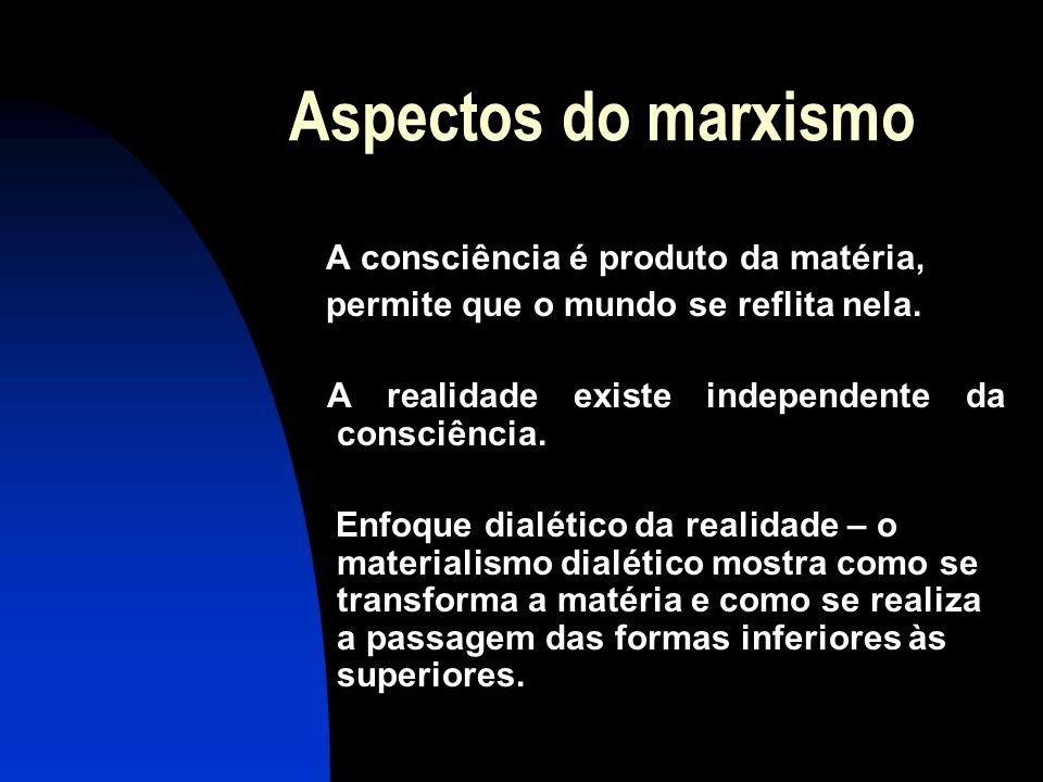 Aspectos do marxismo A consciência é produto da matéria,