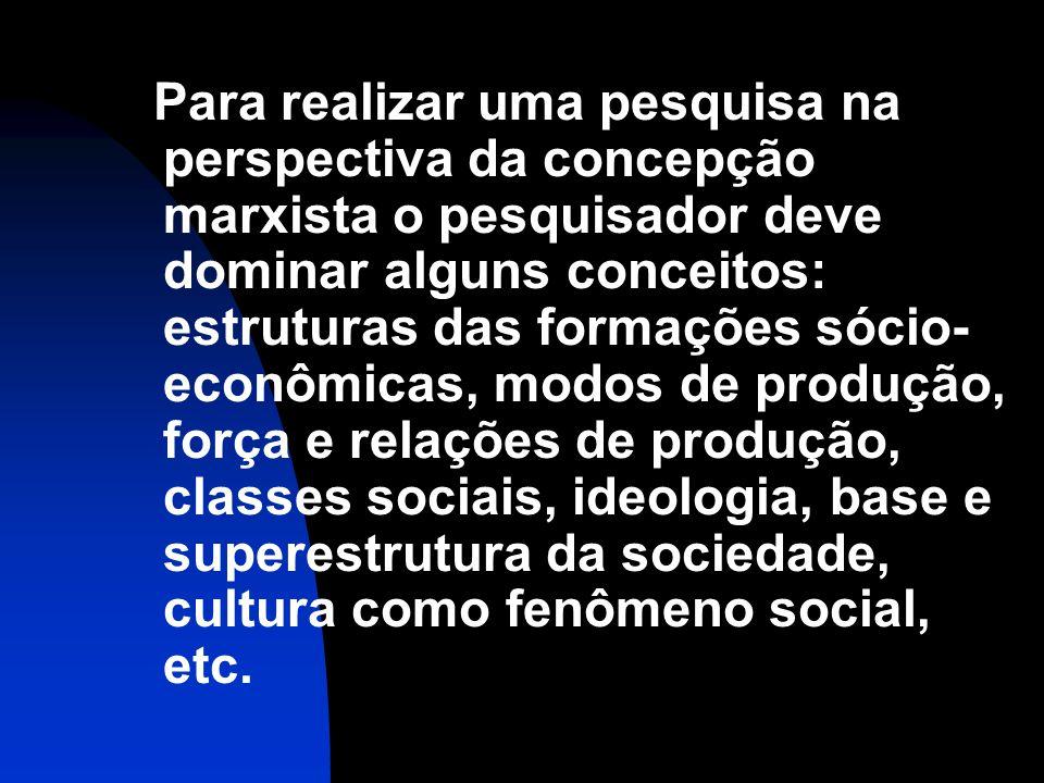 Para realizar uma pesquisa na perspectiva da concepção marxista o pesquisador deve dominar alguns conceitos: estruturas das formações sócio-econômicas, modos de produção, força e relações de produção, classes sociais, ideologia, base e superestrutura da sociedade, cultura como fenômeno social, etc.