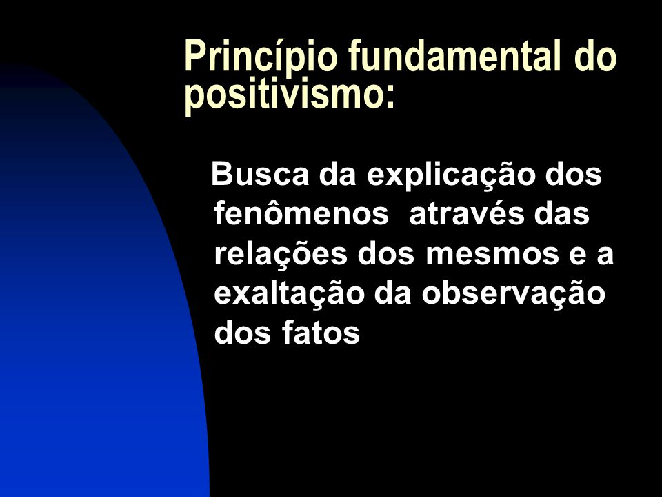 Princípio fundamental do positivismo: