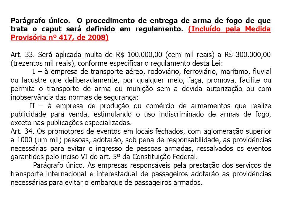 Parágrafo único. O procedimento de entrega de arma de fogo de que trata o caput será definido em regulamento. (Incluído pela Medida Provisória nº 417, de 2008)