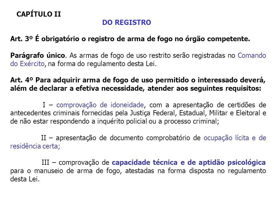 CAPÍTULO II DO REGISTRO. Art. 3º É obrigatório o registro de arma de fogo no órgão competente.