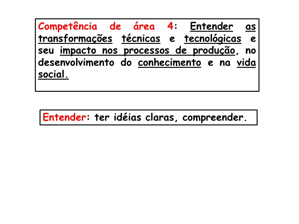 Competência de área 4: Entender as transformações técnicas e tecnológicas e seu impacto nos processos de produção, no desenvolvimento do conhecimento e na vida social.