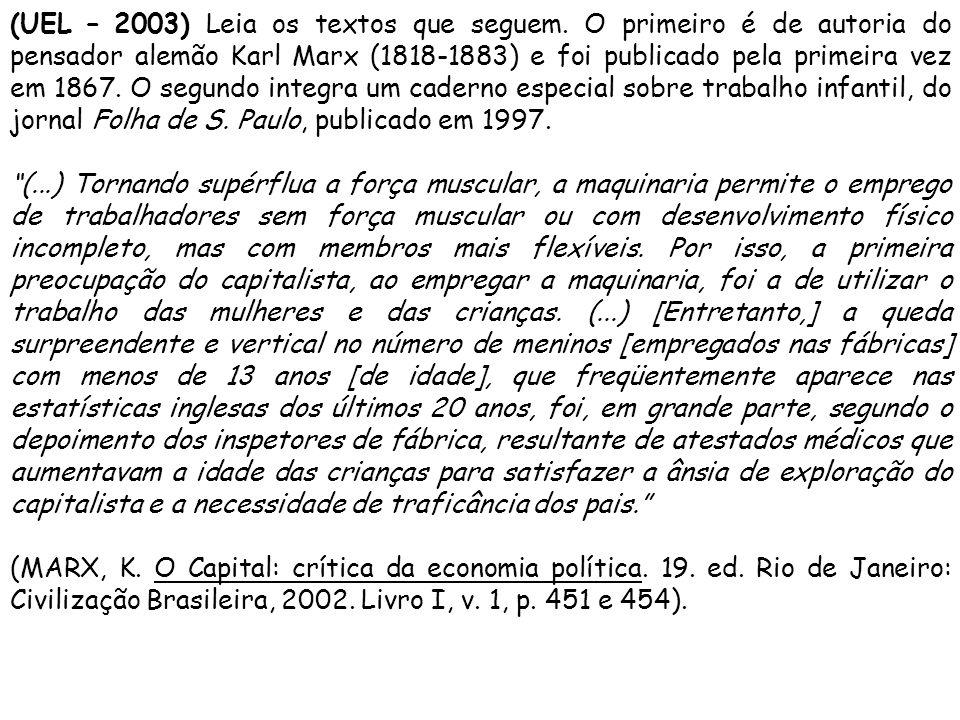 (UEL – 2003) Leia os textos que seguem