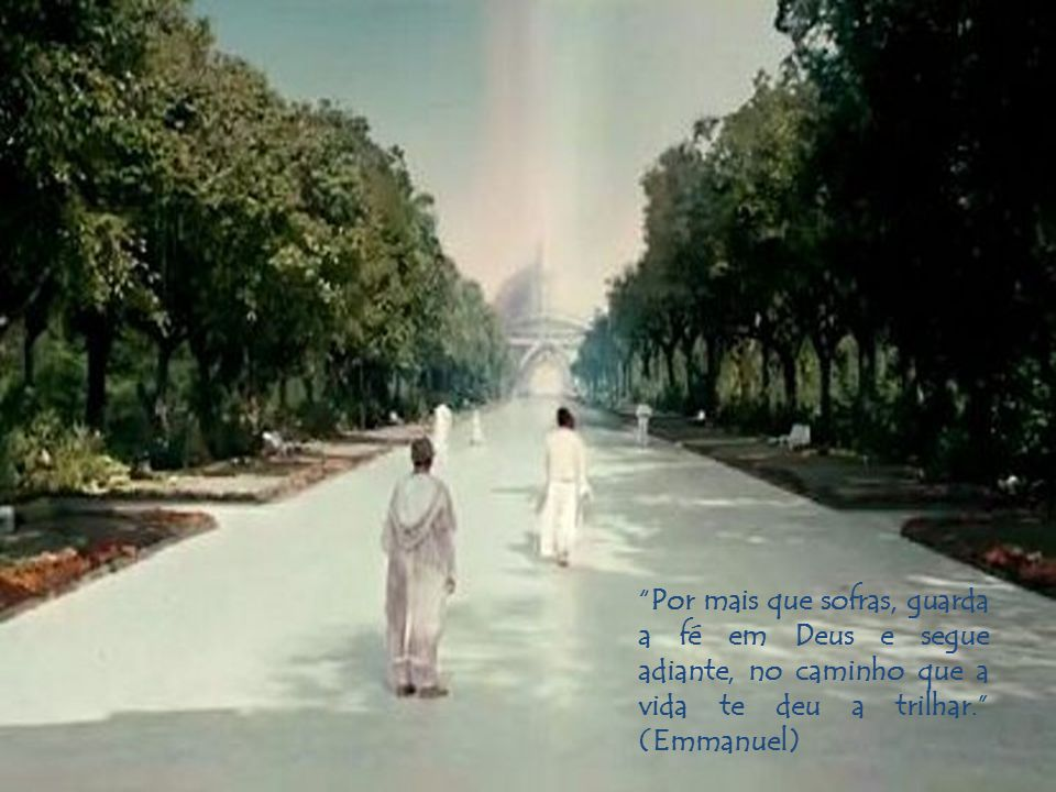 Por mais que sofras, guarda a fé em Deus e segue adiante, no caminho que a vida te deu a trilhar. (Emmanuel)