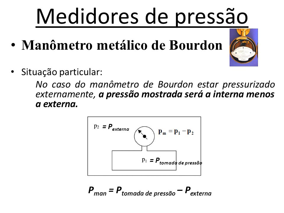Pman = Ptomada de pressão – Pexterna