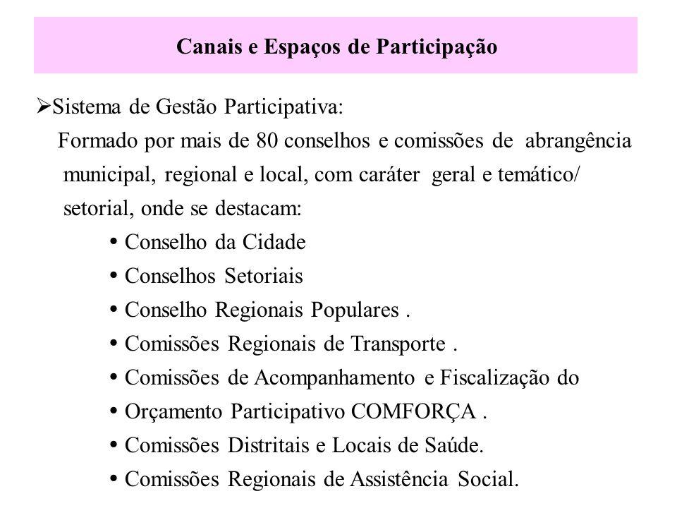 Canais e Espaços de Participação