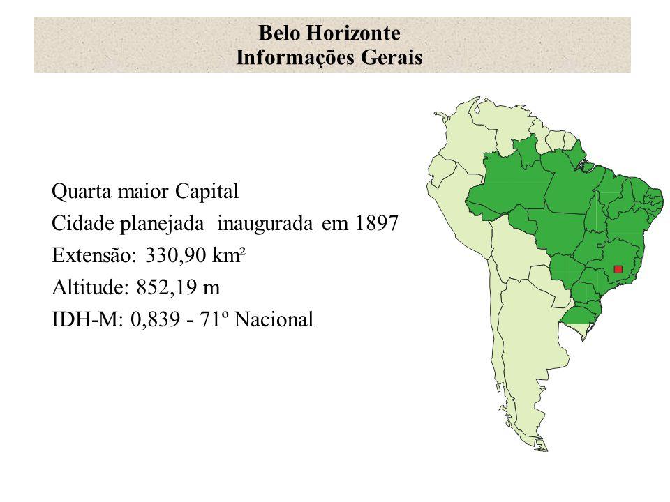 Belo Horizonte Informações Gerais. Quarta maior Capital. Cidade planejada inaugurada em 1897. Extensão: 330,90 km².