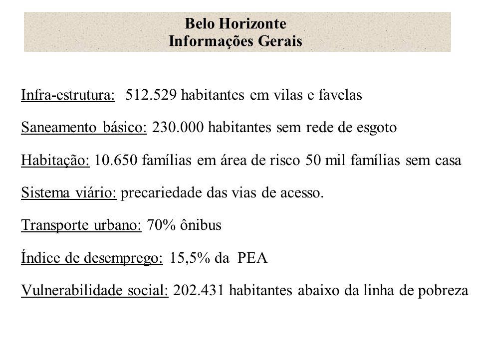 Belo Horizonte Informações Gerais. Infra-estrutura: 512.529 habitantes em vilas e favelas.