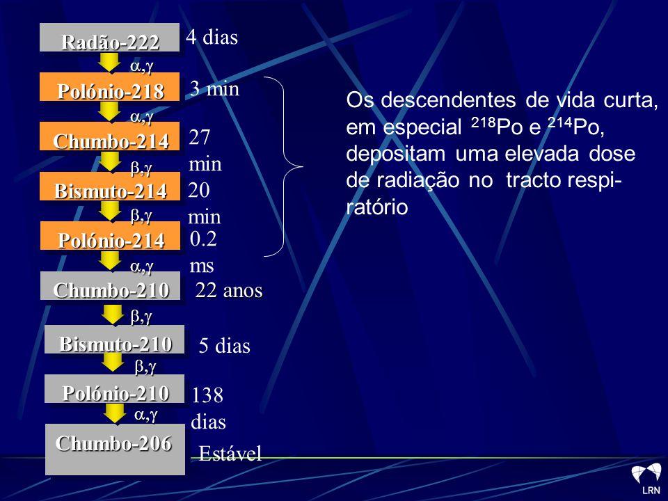 Chumbo-210 Polónio-214. Bismuto-214. Chumbo-214. Polónio-218. Radão-222. b,g. a,g. Chumbo-206.