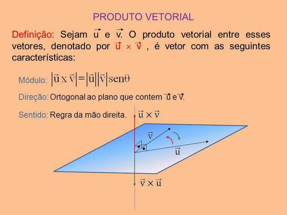 PRODUTO VETORIAL Definição: Sejam u e v. O produto vetorial entre esses vetores, denotado por u  v , é vetor com as seguintes características: