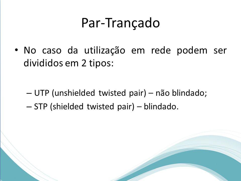 Par-Trançado No caso da utilização em rede podem ser divididos em 2 tipos: UTP (unshielded twisted pair) – não blindado;