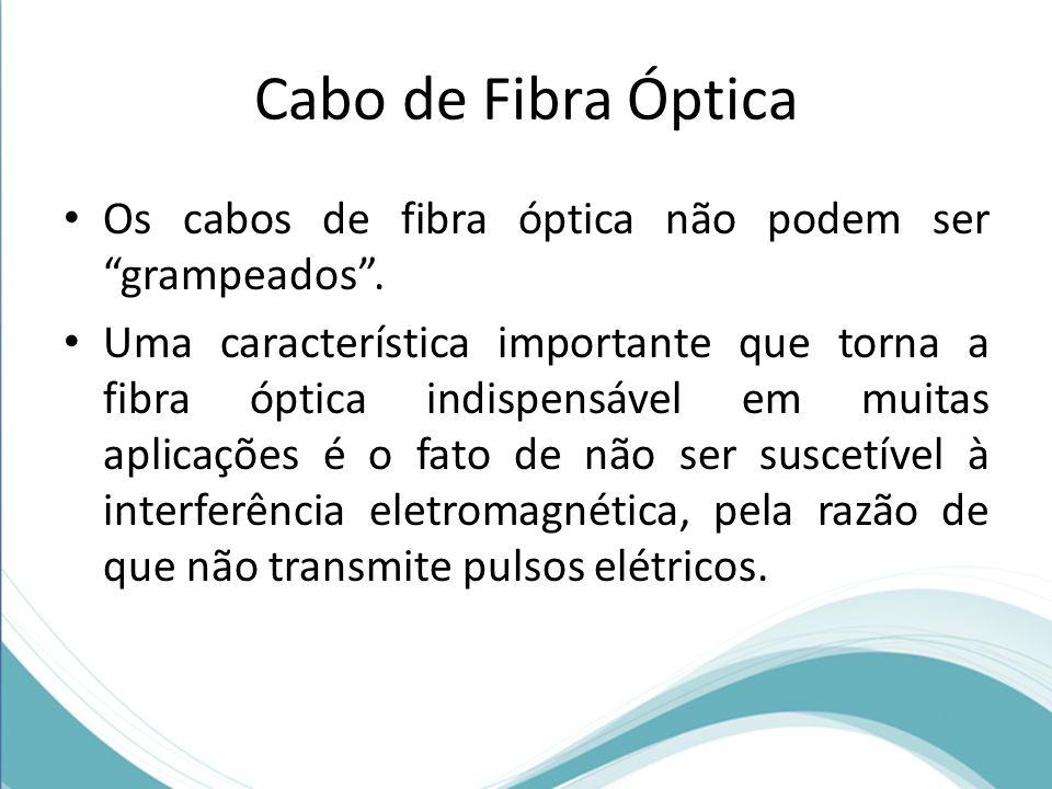Cabo de Fibra Óptica Os cabos de fibra óptica não podem ser grampeados .
