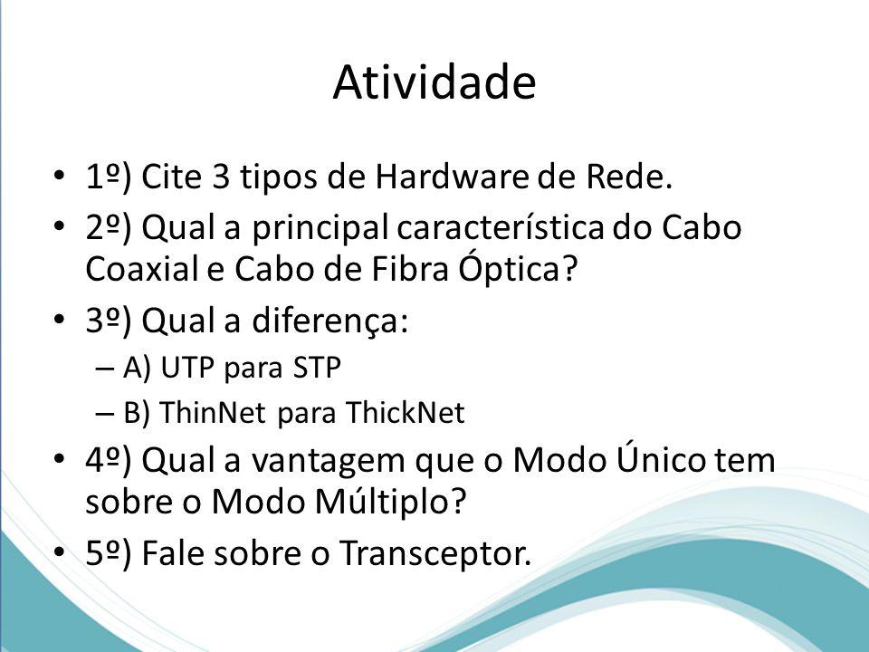 Atividade 1º) Cite 3 tipos de Hardware de Rede.