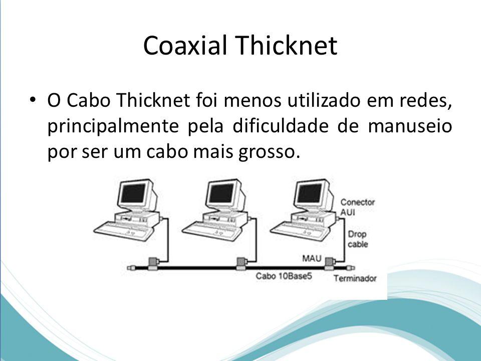 Coaxial Thicknet O Cabo Thicknet foi menos utilizado em redes, principalmente pela dificuldade de manuseio por ser um cabo mais grosso.