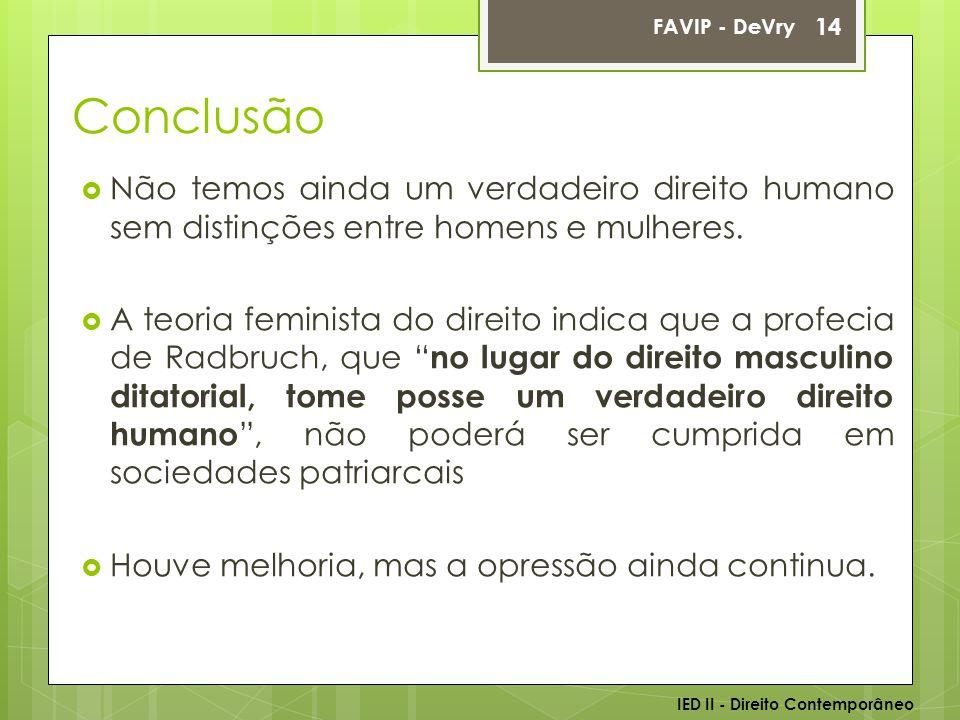 FAVIP - DeVry Conclusão. Não temos ainda um verdadeiro direito humano sem distinções entre homens e mulheres.