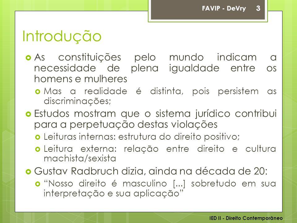 FAVIP - DeVry Introdução. As constituições pelo mundo indicam a necessidade de plena igualdade entre os homens e mulheres.