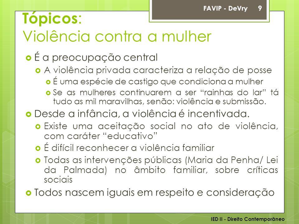 Tópicos: Violência contra a mulher