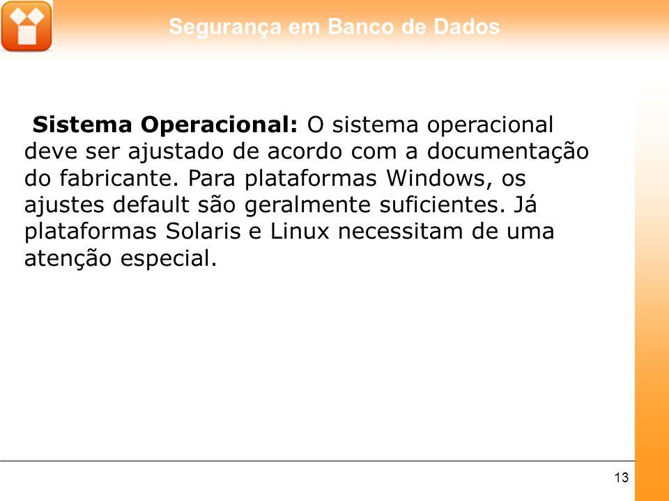 Sistema Operacional: O sistema operacional deve ser ajustado de acordo com a documentação do fabricante.