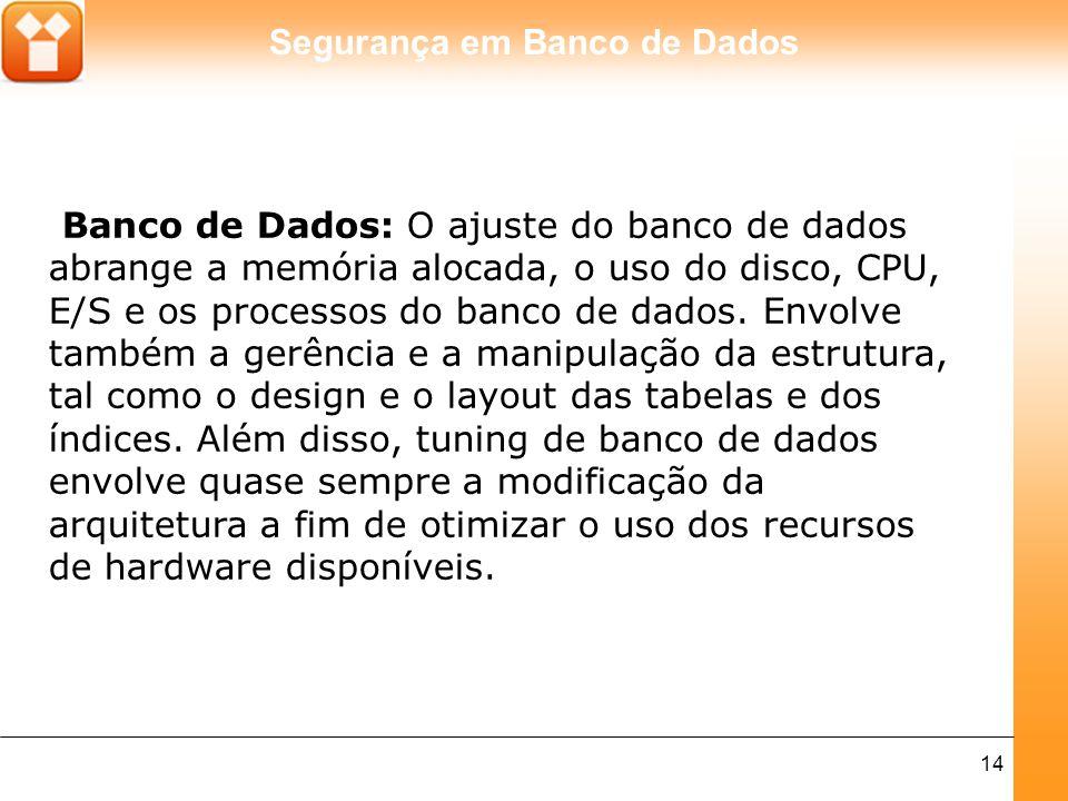 Banco de Dados: O ajuste do banco de dados abrange a memória alocada, o uso do disco, CPU, E/S e os processos do banco de dados.