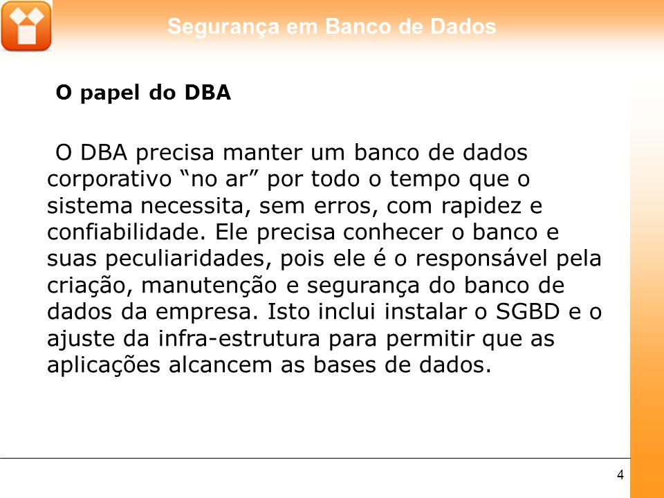 O papel do DBA