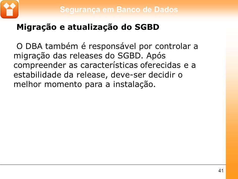 Migração e atualização do SGBD