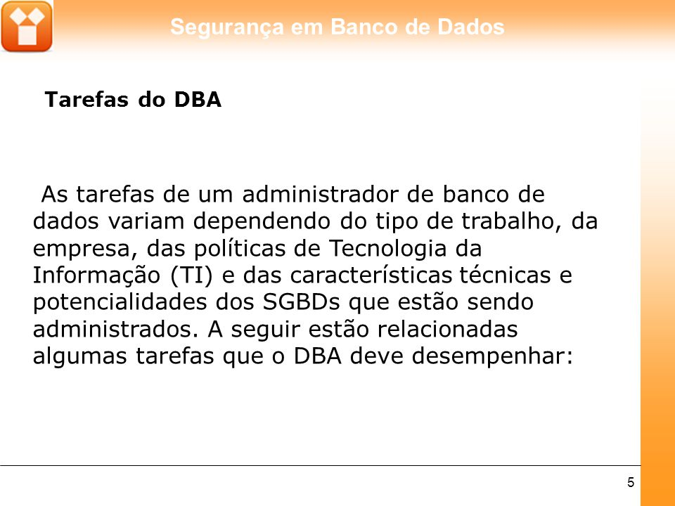 Tarefas do DBA