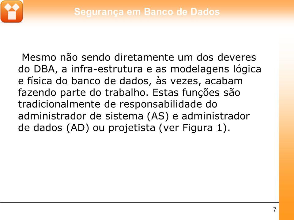 Mesmo não sendo diretamente um dos deveres do DBA, a infra-estrutura e as modelagens lógica e física do banco de dados, às vezes, acabam fazendo parte do trabalho.