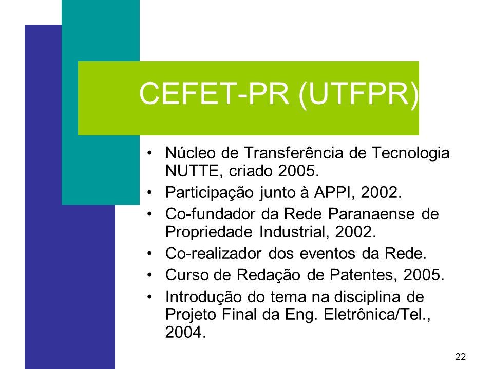 CEFET-PR (UTFPR) Núcleo de Transferência de Tecnologia NUTTE, criado 2005. Participação junto à APPI, 2002.