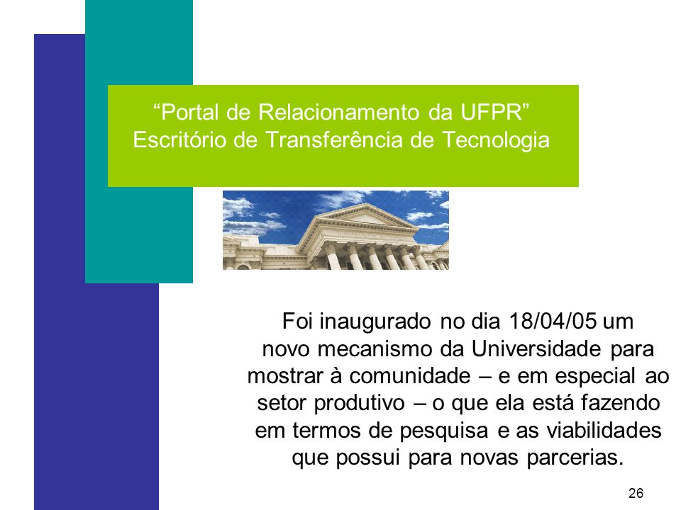 Portal de Relacionamento da UFPR Escritório de Transferência de Tecnologia