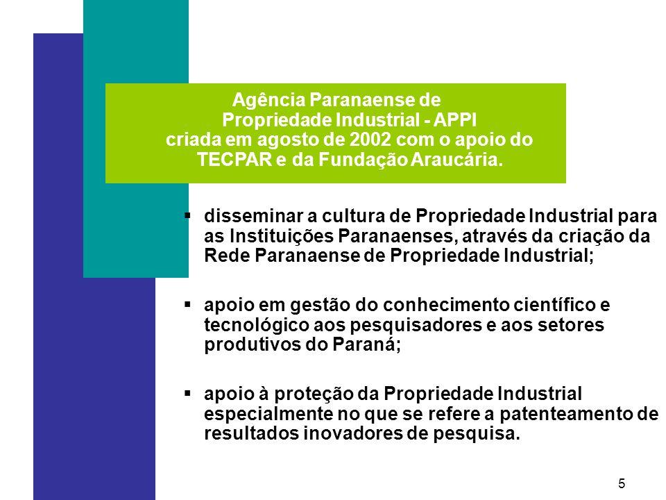 Agência Paranaense de Propriedade Industrial - APPI criada em agosto de 2002 com o apoio do TECPAR e da Fundação Araucária.