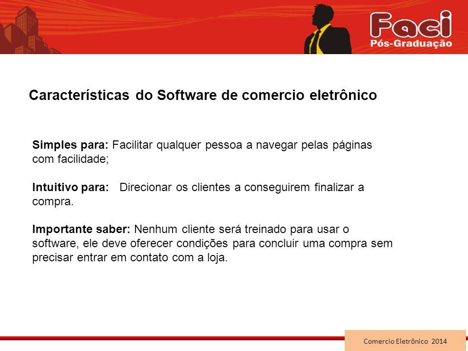 Características do Software de comercio eletrônico