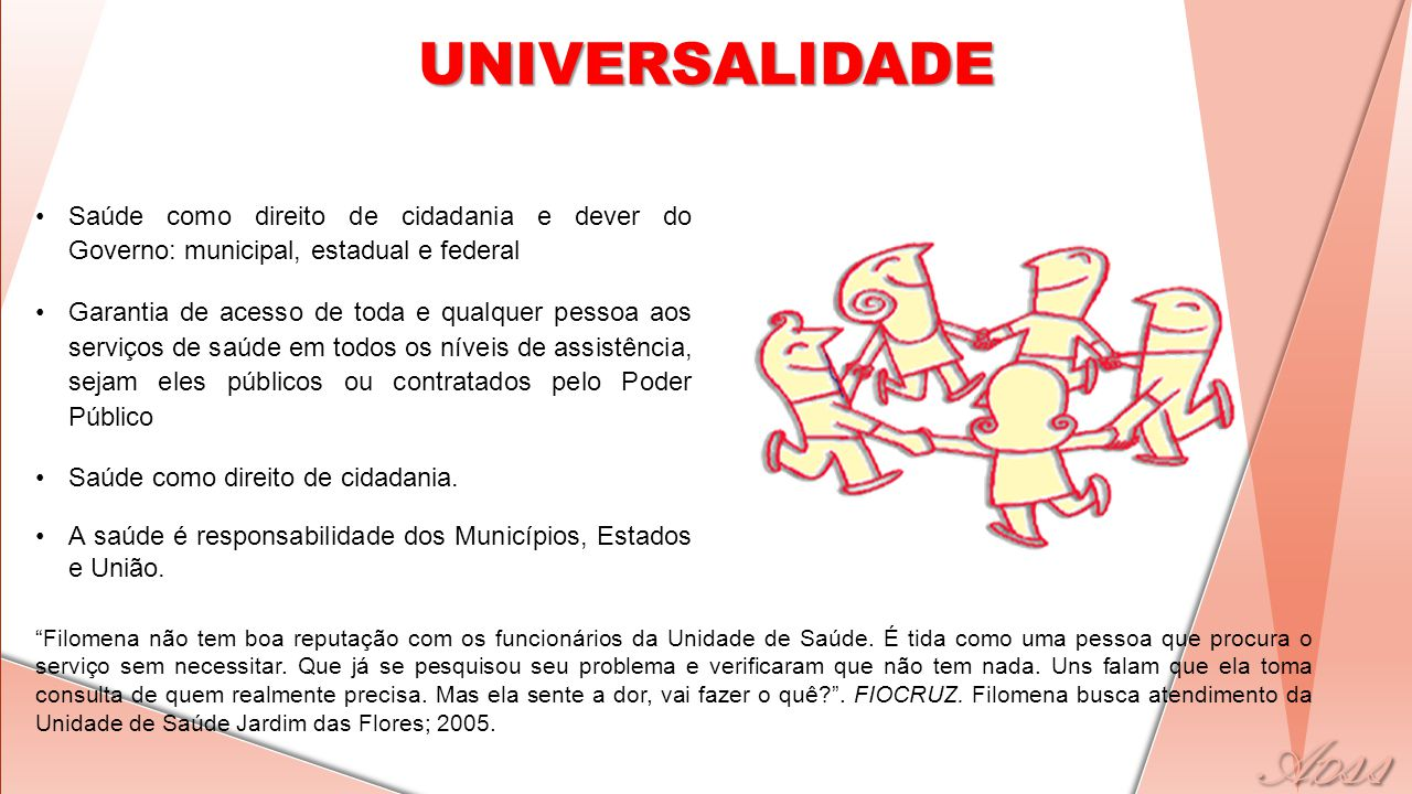 UNIVERSALIDADE Saúde como direito de cidadania e dever do Governo: municipal, estadual e federal.