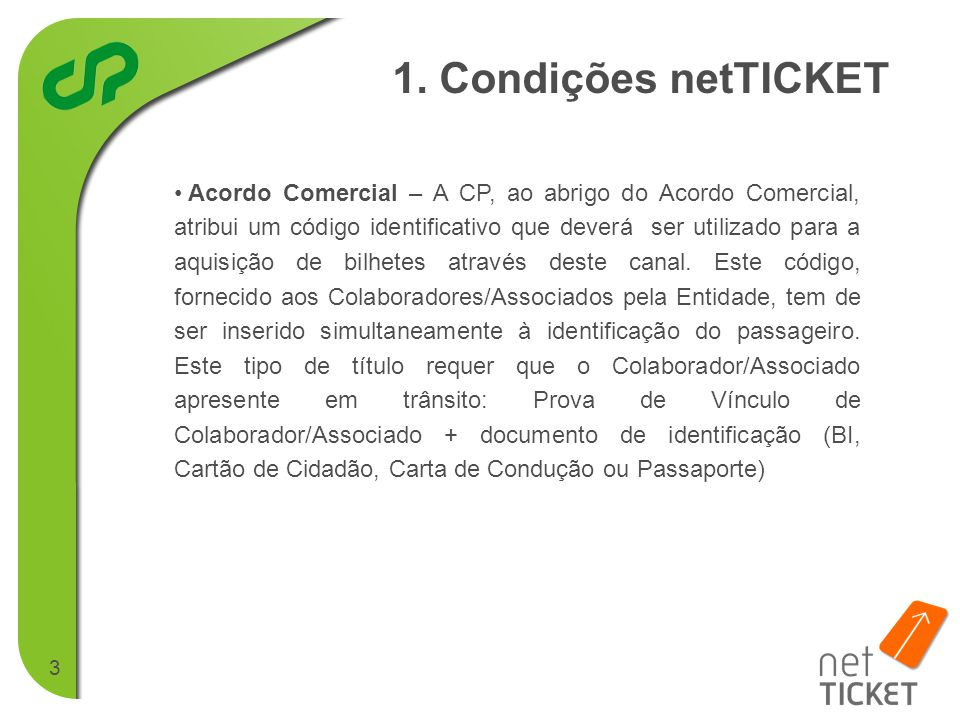 1. Condições netTICKET