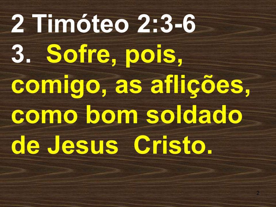 2 Timóteo 2:3-6 3. Sofre, pois, comigo, as aflições, como bom soldado de Jesus Cristo.