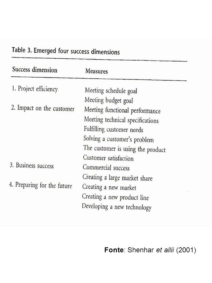 Fonte: Shenhar et allii (2001)